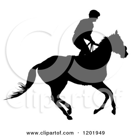 Clipart of a Black and White Silhouetted Horseback Jockey - Royalty Free Vector Illustration by Maria Bell
