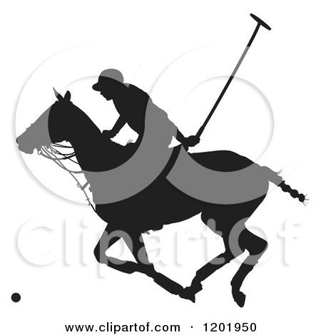 Clipart of a Black and White Silhouetted Horseback Polo Player - Royalty Free Vector Illustration by Maria Bell