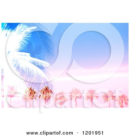 Clipart of Palm Trees Against a Sunset Sky with Text Space - Royalty Free Illustration by Arena Creative