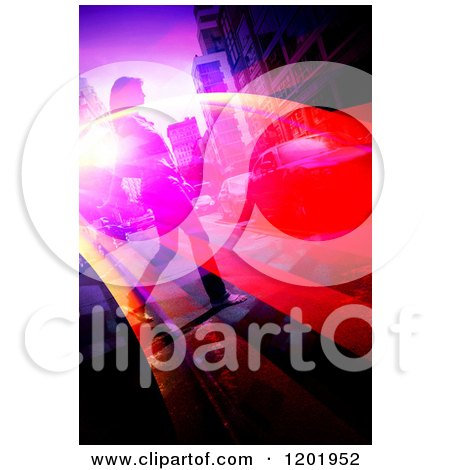 Clipart of a Woman Crossing an Urban Street with Flares - Royalty Free Illustration by Arena Creative