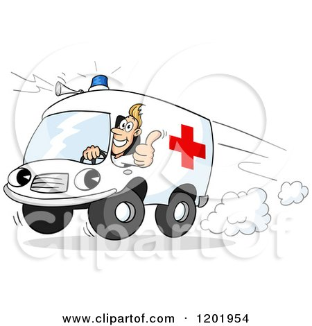 Cartoon of a Paramedics Ambulance Driver Holding a Thumb up out the Window - Royalty Free Vector Clipart by Holger Bogen