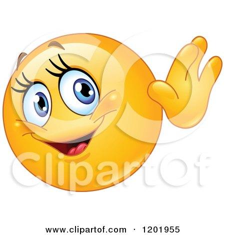 Cartoon of a Friendly Female Emoticon Smiley Waving - Royalty Free Vector Clipart by yayayoyo
