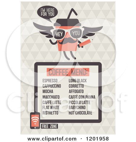 Clipart of a Retro Cafe Menu Design with a Free Wifi Zone Symbol - Royalty Free Vector Illustration by elena