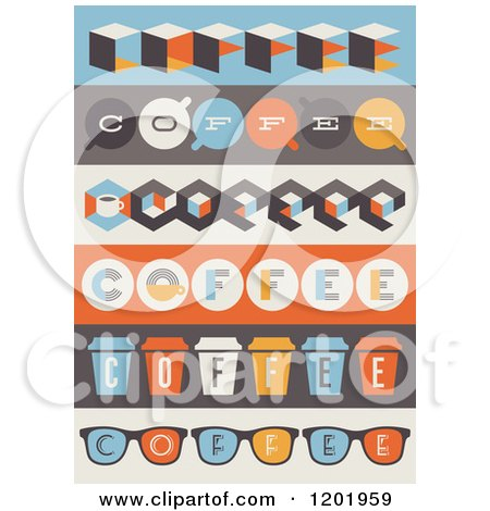 Clipart of Retro Coffee Borders - Royalty Free Vector Illustration by elena