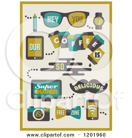 Clipart of Retro Hipster Coffee Designs - Royalty Free Vector Illustration by elena
