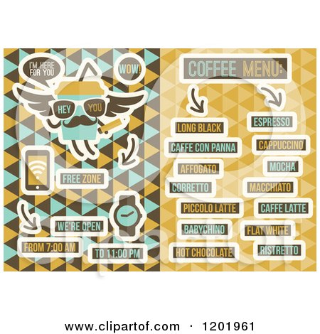 Clipart of a Retro Cafe Menu Design - Royalty Free Vector Illustration by elena