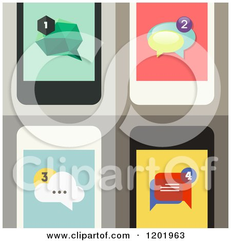 Clipart of Four Cell Phone Screens with Message Icons - Royalty Free Vector Illustration by elena