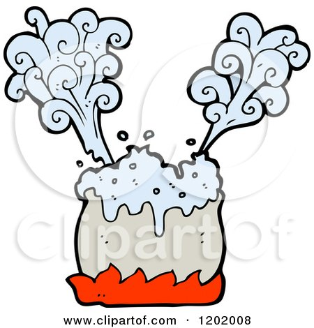 Cartoon of a Cooking Pot Steaming - Royalty Free Vector Illustration by lineartestpilot