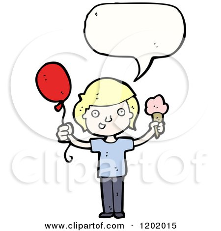 Cartoon of a Kid with a Baloon and Ice Cream Cone Speaking - Royalty Free Vector Illustration by lineartestpilot