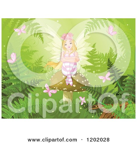 Cartoon of a Blond Fairy Girl with Roses in Her Hair, Sitting on a Mushroom in a Fantasy Forest with Butterflies and Ferns - Royalty Free Vector Clipart by Pushkin