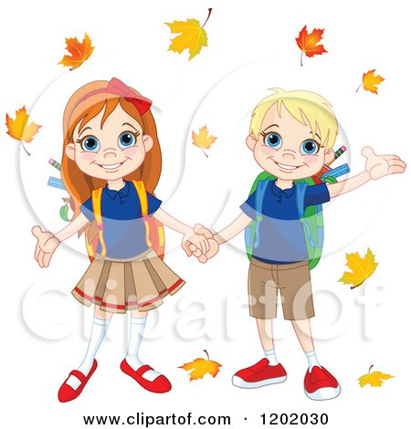 Cartoon of a Happy School Boy and Girl Holding Hands Under Autumn Leaves - Royalty Free Vector Clipart by Pushkin