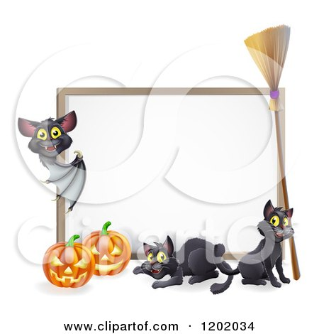 Cartoon of a Vampire Bat Pointing to a Halloween Sign with Black Cats a Broomstick and Pumpkins - Royalty Free Vector Clipart by AtStockIllustration
