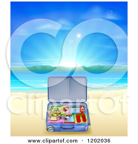 Cartoon of a Travel Suitcase Open on a Sandy Tropical Beach at Sunrise - Royalty Free Vector Clipart by AtStockIllustration