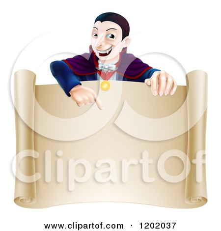 Cartoon of a Vampire Pointing down at a Sign Scroll - Royalty Free Vector Clipart by AtStockIllustration