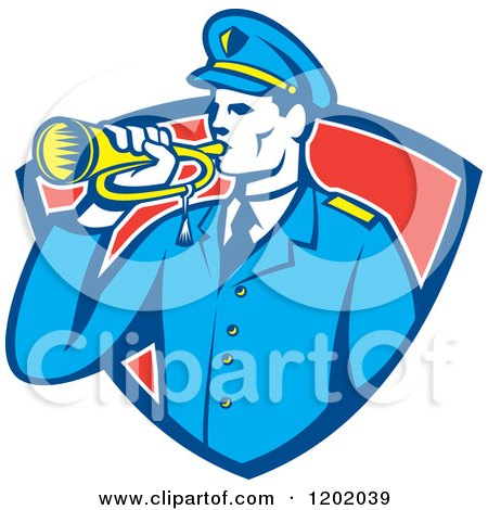 Clipart of a Retro Military Soldier with a Bugle in a Red Shield Crest - Royalty Free Vector Illustration by patrimonio