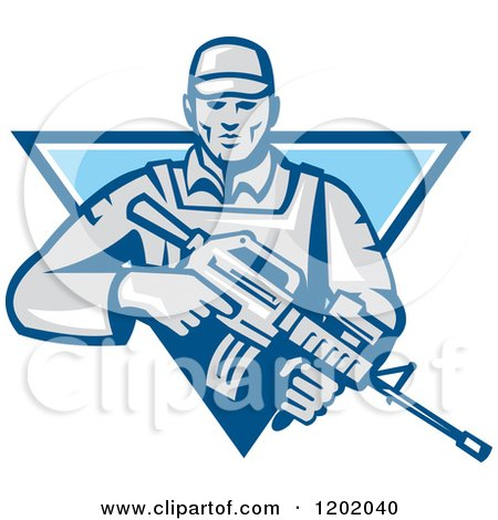 Clipart of a Retro Male Soldier with an Assault Rifle in a Blue Triangle - Royalty Free Vector Illustration by patrimonio