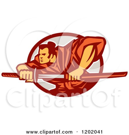 Clipart of a Retro Samurai Warrior with a Catana Sword in an Oval - Royalty Free Vector Illustration by patrimonio
