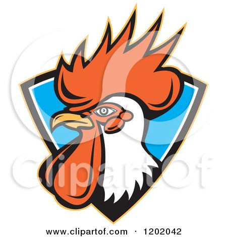 Clipart of a Retro Rooster Head Emerging from a Blue Shield Crest - Royalty Free Vector Illustration by patrimonio