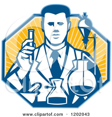 Clipart of a Retro Scientist Working with Lab Equipment over a Ray Octagon - Royalty Free Vector Illustration by patrimonio