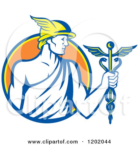 Clipart of a Retro Roman God Mercury with a Caduceus in an Orange Circle - Royalty Free Vector Illustration by patrimonio
