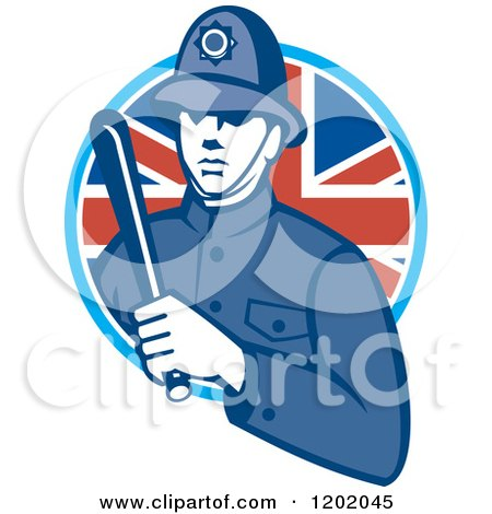 Clipart Of A Retro British London Bobby Police Officer With A Truncheon In A Union Jack Flag Circle Royalty Free Vector Illustration