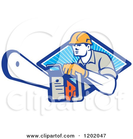 Clipart of a Retro Logger Using a Chain Saw Emerging from a Diamond of Blue Rays - Royalty Free Vector Illustration by patrimonio