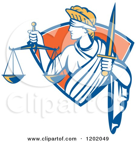 Retro Blindfolded Lady Justice with a Sword and Scale in a Crest Shield Posters, Art Prints