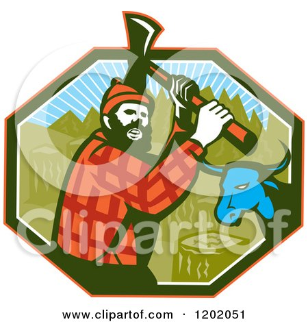 Clipart of a Retro Paul Bunyan Lumberjack and Babe Blue Ox in an Octagon - Royalty Free Vector Illustration by patrimonio