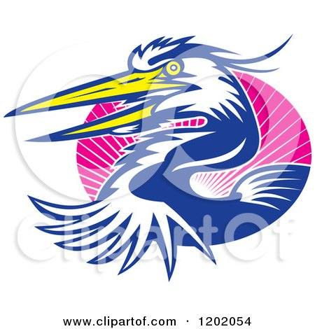 Clipart of a Great Blue Heron Bird Emerging from an Oval of Pink Rays - Royalty Free Vector Illustration by patrimonio