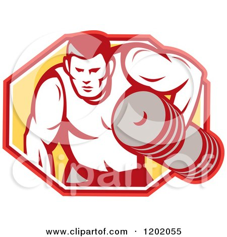 Clipart of a Retro Buff Bodybuilder Lifting Heavy Weights over a Hexagon - Royalty Free Vector Illustration by patrimonio