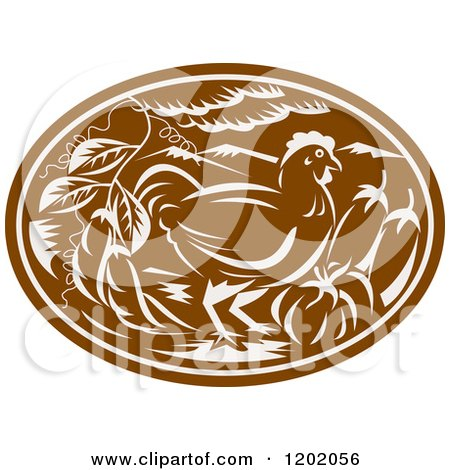 Clipart of a Brown Woodcut Chicken Oval with Vegetables - Royalty Free Vector Illustration by patrimonio