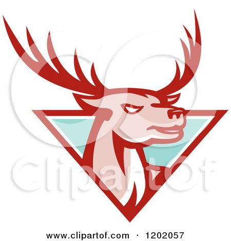 Clipart of a Deer Stag Head Emerging from a Turquoise Triangle - Royalty Free Vector Illustration by patrimonio
