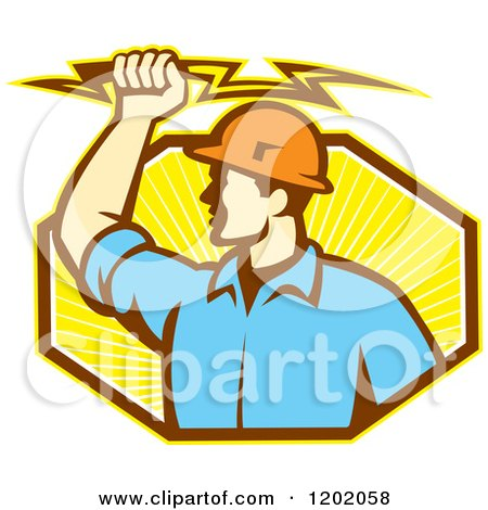 Clipart of a Retro Male Electrician Holdnig a Bolt over an Octagon of Orange Rays - Royalty Free Vector Illustration by patrimonio