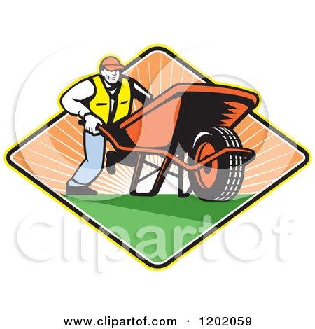 Clipart of a Retro Gardener Man Pushing a Wheelbarrow in a Sunset Diamond - Royalty Free Vector Illustration by patrimonio