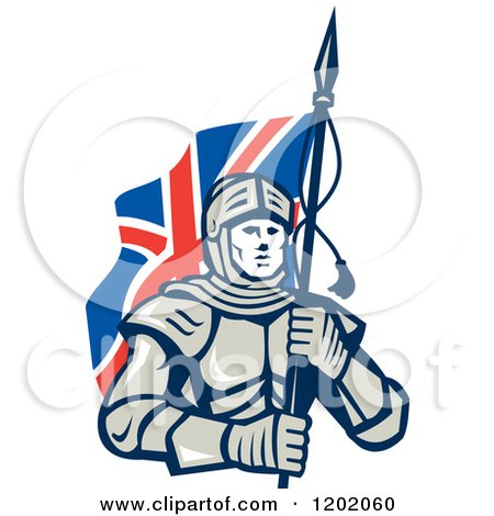 Knight in Metal Armour, Carrying a British Flag Posters, Art Prints