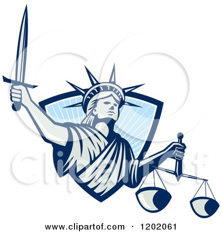 Clipart of a Statue of Liberty Lady Justice with a Sword and Scales, Emerging from a Blue Ray Shield - Royalty Free Vector Illustration by patrimonio