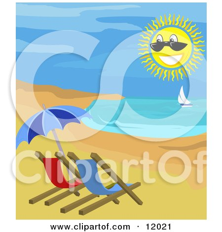 Beach Chairs and Umbrella on the Shore With a View of a Sailboat Posters, Art Prints