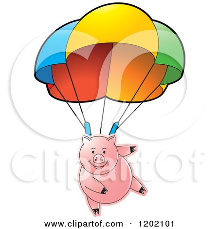 Clipart of a Pig Parachuting - Royalty Free Vector Illustration by Lal Perera