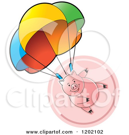 Clipart of a Pig Parachuting over a Pink Icon - Royalty Free Vector Illustration by Lal Perera