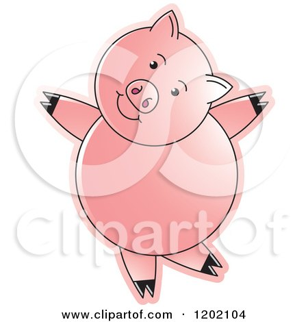Clipart of a Pig Dancing - Royalty Free Vector Illustration by Lal Perera