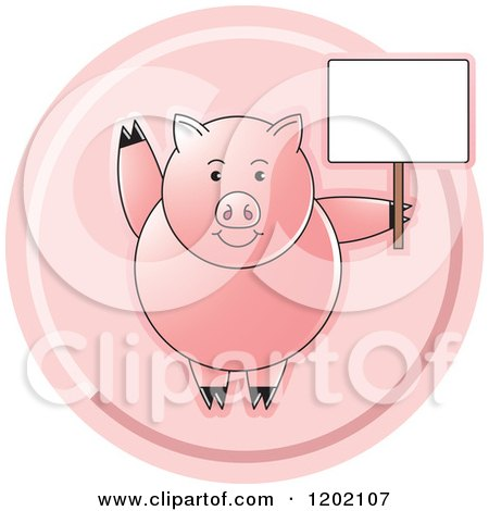 Clipart of a Pink Pig Waving and Holding a Sign Icon - Royalty Free Vector Illustration by Lal Perera