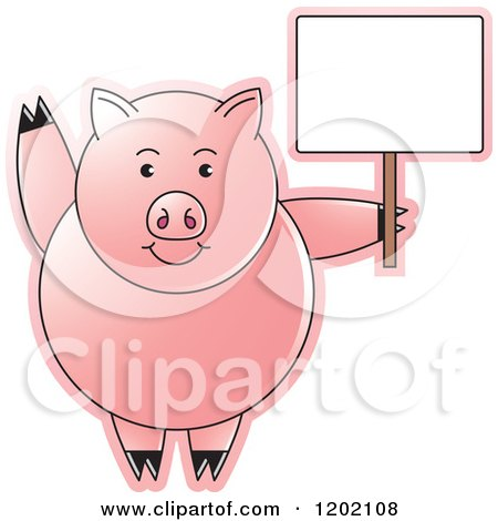 Clipart of a Pig Waving and Holding a Sign - Royalty Free Vector Illustration by Lal Perera