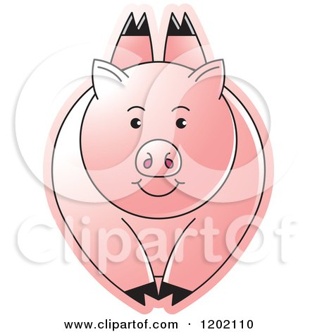 Clipart of a Pink Pig Leaping - Royalty Free Vector Illustration by Lal Perera
