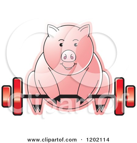 Clipart of a Fit Pig Exercising and Lifting a Barbell - Royalty Free Vector Illustration by Lal Perera