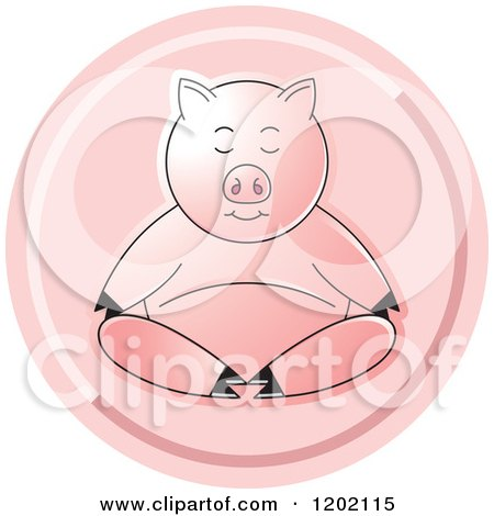 Clipart of a Pig Meditating Icon - Royalty Free Vector Illustration by Lal Perera