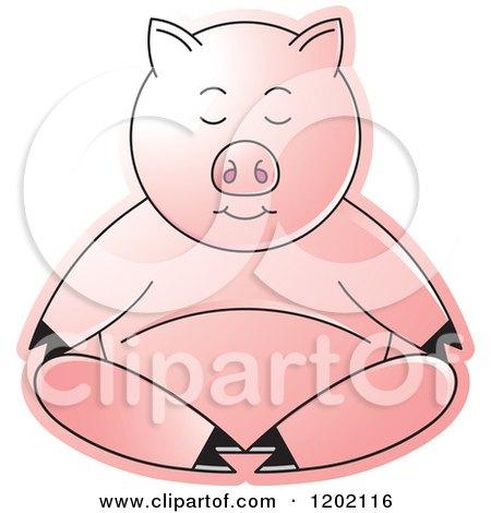 Clipart of a Pig Meditating - Royalty Free Vector Illustration by Lal Perera