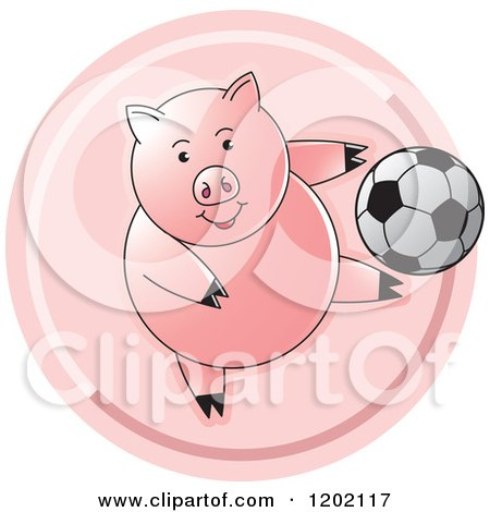 Clipart of a Sporty Pig Playing Soccer Icon - Royalty Free Vector Illustration by Lal Perera
