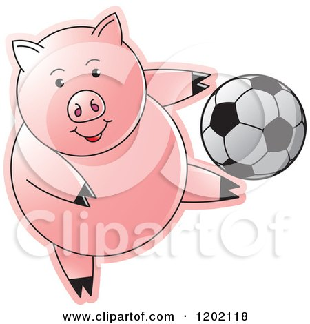 Clipart of a Sporty Pig Playing Soccer - Royalty Free Vector Illustration by Lal Perera