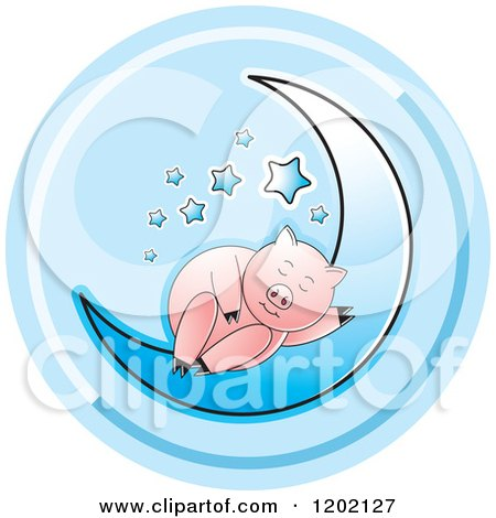 Clipart of a Pig Sleeping on a Blue Crescent Moon Icon - Royalty Free Vector Illustration by Lal Perera