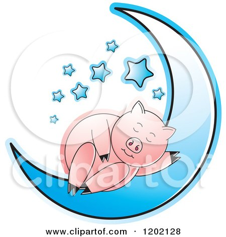 Clipart of a Pig Sleeping on a Blue Crescent Moon - Royalty Free Vector Illustration by Lal Perera